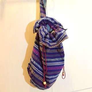 民族風大容量單肩後背包 束口 圖騰 包包