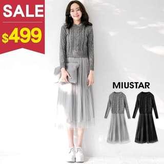 轉賣。Miu-star 假兩件麻花針織上衣拼接網紗洋裝