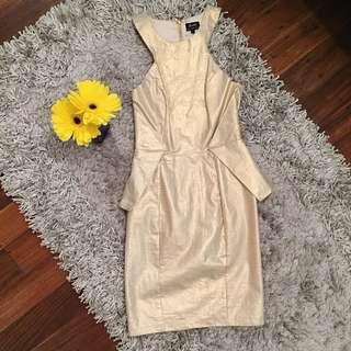 Gold Bardot Dress - Size 8