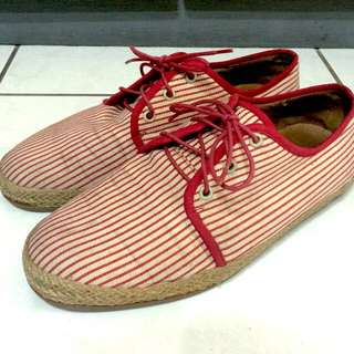 While 紅條紋休閒鞋 Size:43 牛津鞋 帆布 麻繩
