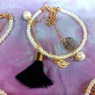 黑流蘇珍珠手鍊
