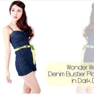 THE TINSEL RACK TTR Wonderwoman Denim Bustier Romper