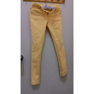 黃色長褲  緊身 貼身長褲