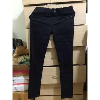 全新 黑色 高腰 刷破牛仔褲