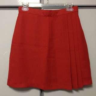 Dark Orange Pleated Skirt