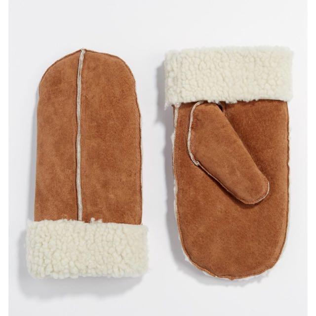 英國品牌麂皮羔羊毛手套