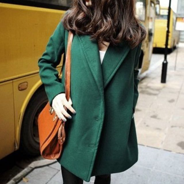 (交易進行中)棉毛尼寬中長款大衣 /歐美大牌款街拍款長版西裝外套毛呢大衣 全新轉賣