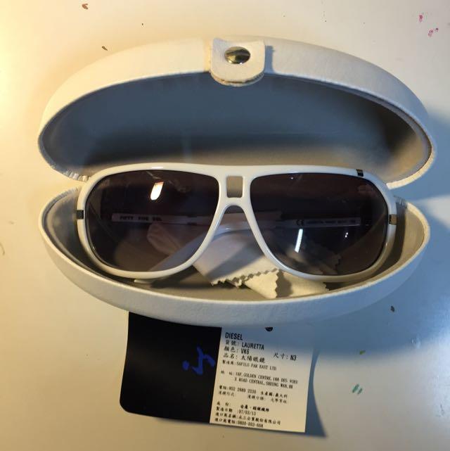 二手 DIESEL 白框 太陽眼鏡 墨鏡