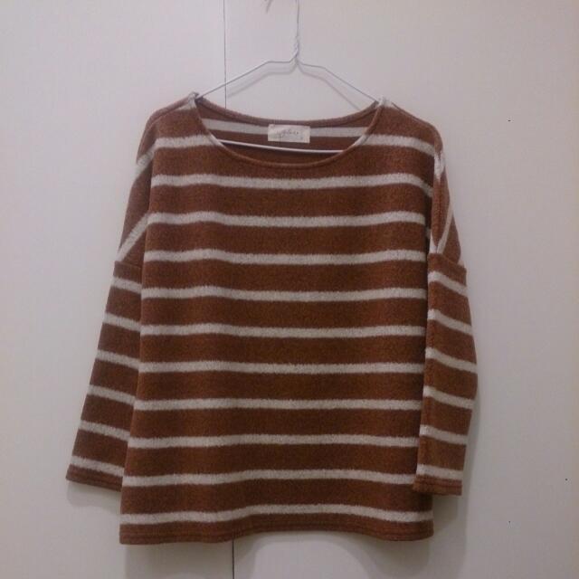 全新 Galoop 橘紅暖色毛呢寬上衣