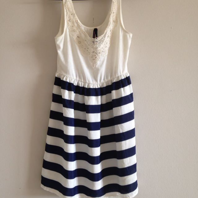 Ally Blue And White Striped Dress