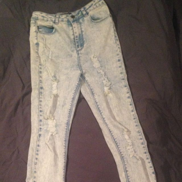MISSGUIDED high Waisted Acid Wash Jeans