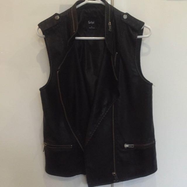 sportsgirl leather sleeveless vest
