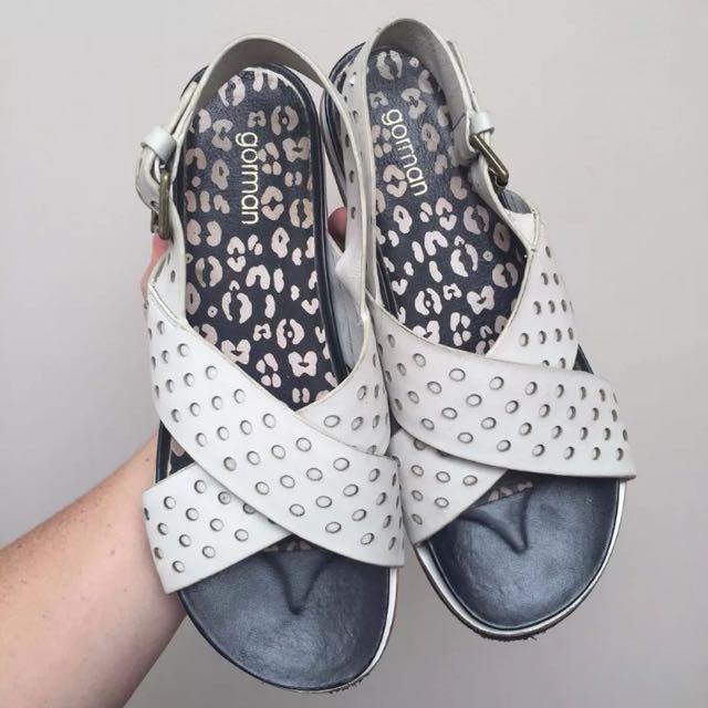 White Leather Gorman Sandals