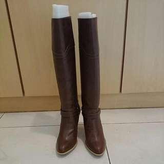 踝釦高跟長靴-37號-咖啡