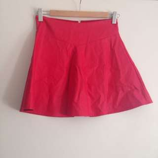 Red Leather Textured Skirt