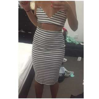 BNWT two Piece Strip Skirt And Crop (many Sizes Available)