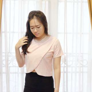 slit dusty pink top