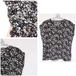 Black Floral Chiffon Top