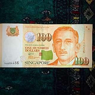 """2009 4th Series Portrait Singapore Banknote $100, Prefix """"1AA"""" & 'Goh Chok Tong'. XF- (#282)."""