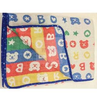 日本正版彩虹熊六重紗被(藍色邊)