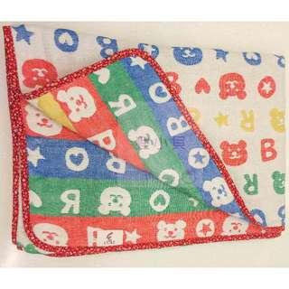 日本正版彩虹熊六重紗被(紅色邊)