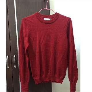 日本專櫃earth紅色針織毛衣💕