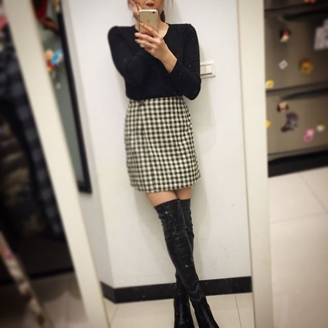✨全新美品✨百貨專櫃購回 復古格紋短裙/黑/咖二色
