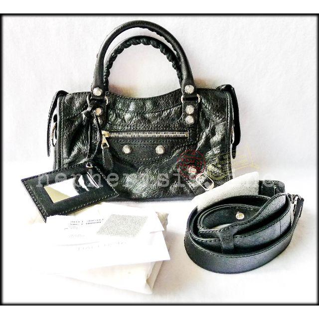 1ae77659795 AUTH NEW Balenciaga Giant 12 Mini City Cross Body Bag BLACK SILVER ...