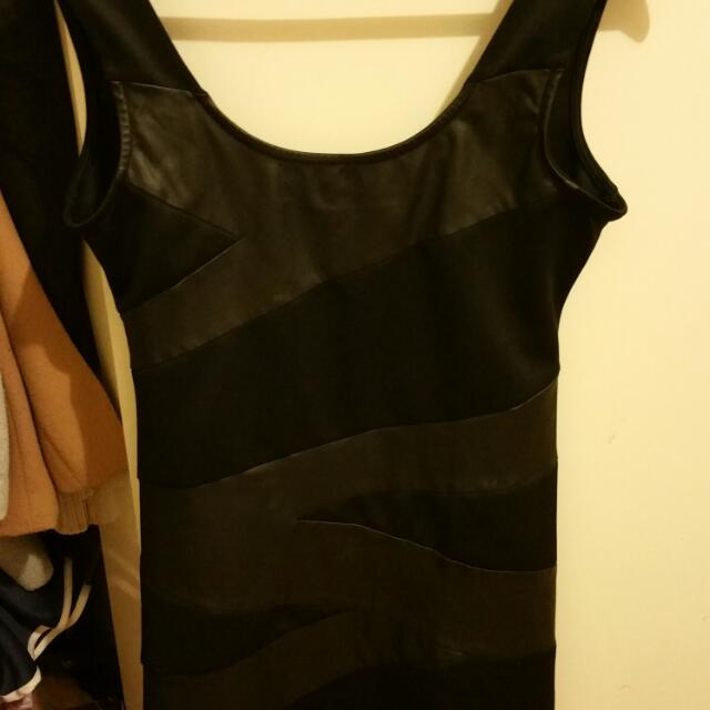 Leather Body Con Dress