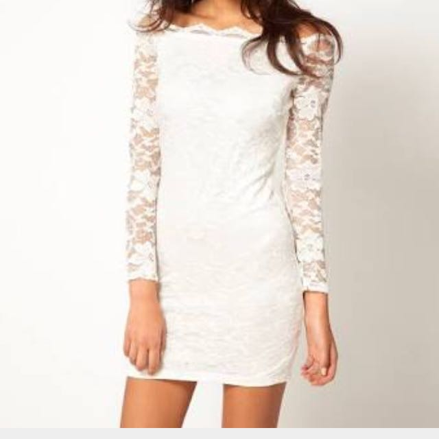 NWT ASOS Off Shoulder White Lace Dress UK12
