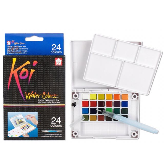 [reserved] Sakura Koi Water Color Palette With Water Brush Set (24 Colors)