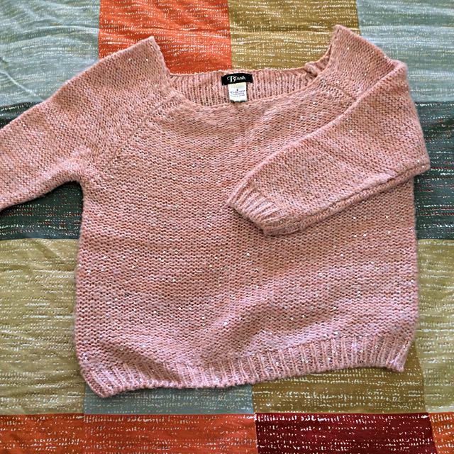 Temp金蔥閃亮粉色針織毛衣