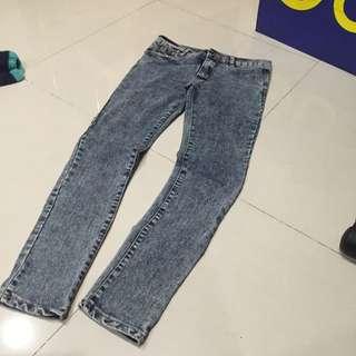 顯瘦 刷色 雪花 超彈性 牛仔褲