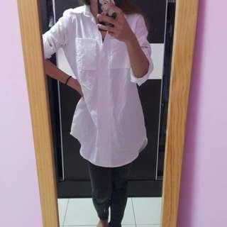 全新白色長版襯衫