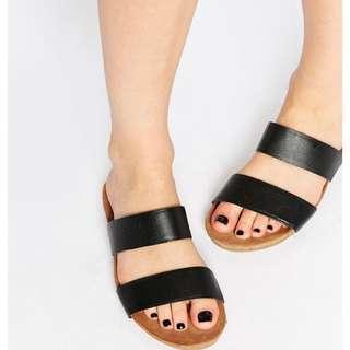 徵 簡約雙黑條紋拖鞋