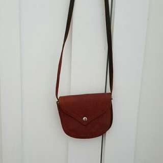 Tan Brown Leather Pouch Side Bag Strap Cross Body