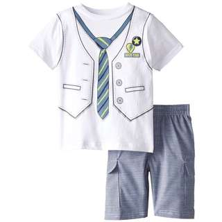 [APPARELS] [Size 7 - 6/7yrs old] Little Boys' White T Shirt with Vest and Tie Print Shorts