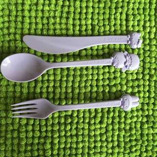 Hello Kitty Spoon Fork And Knife Set