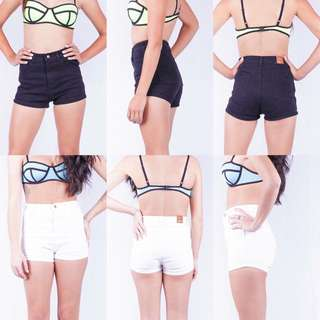 BNWT White/ Black Denim Shorts