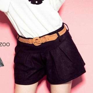 全新轉賣BASEZOO貝思奇-自訂款 側拉鍊前壓折二口袋毛料褲裙