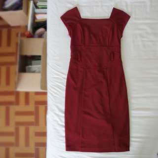 S Size Red Office Pencil Skirt