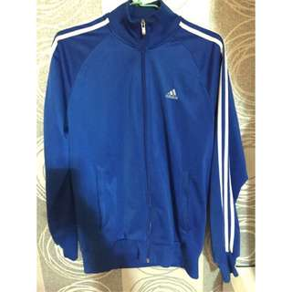 adidas 藍白條紋外套 L號