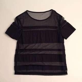 Black Stripe Sheer Top