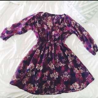 Dotti Violet Floral Flowy Dress