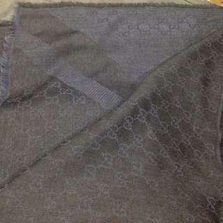 (全新)Gucci 經典GG 羊毛混絲圍巾 大方巾