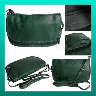RABEANCO專櫃品牌 牛皮 斜背三夾層護士包 綠色💚九八成新