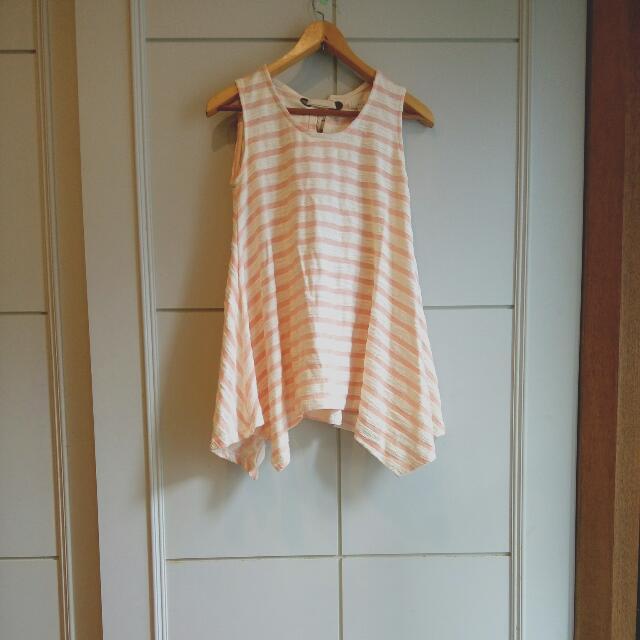 50%無袖粉紅白條紋上衣/洋裝