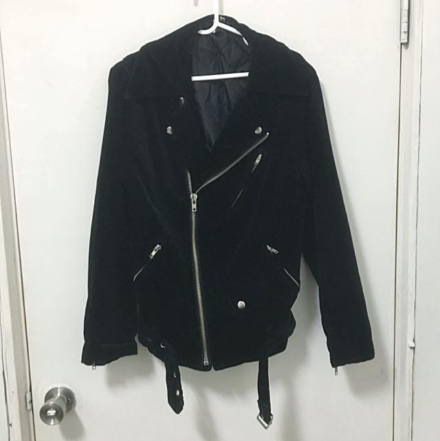 極少見vintage絨毛款騎士外套