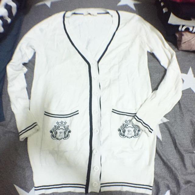 米白色學院風針織長版開衫外套