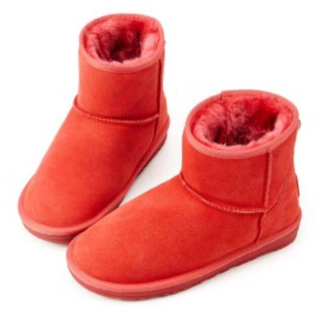 暖烘烘 紅色雪靴